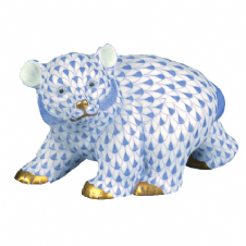 Herend Porcelain Fishnet Figurine of a Bear Cub